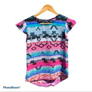 Metaphor Women's Aztec Design Short Sleeve Top XS